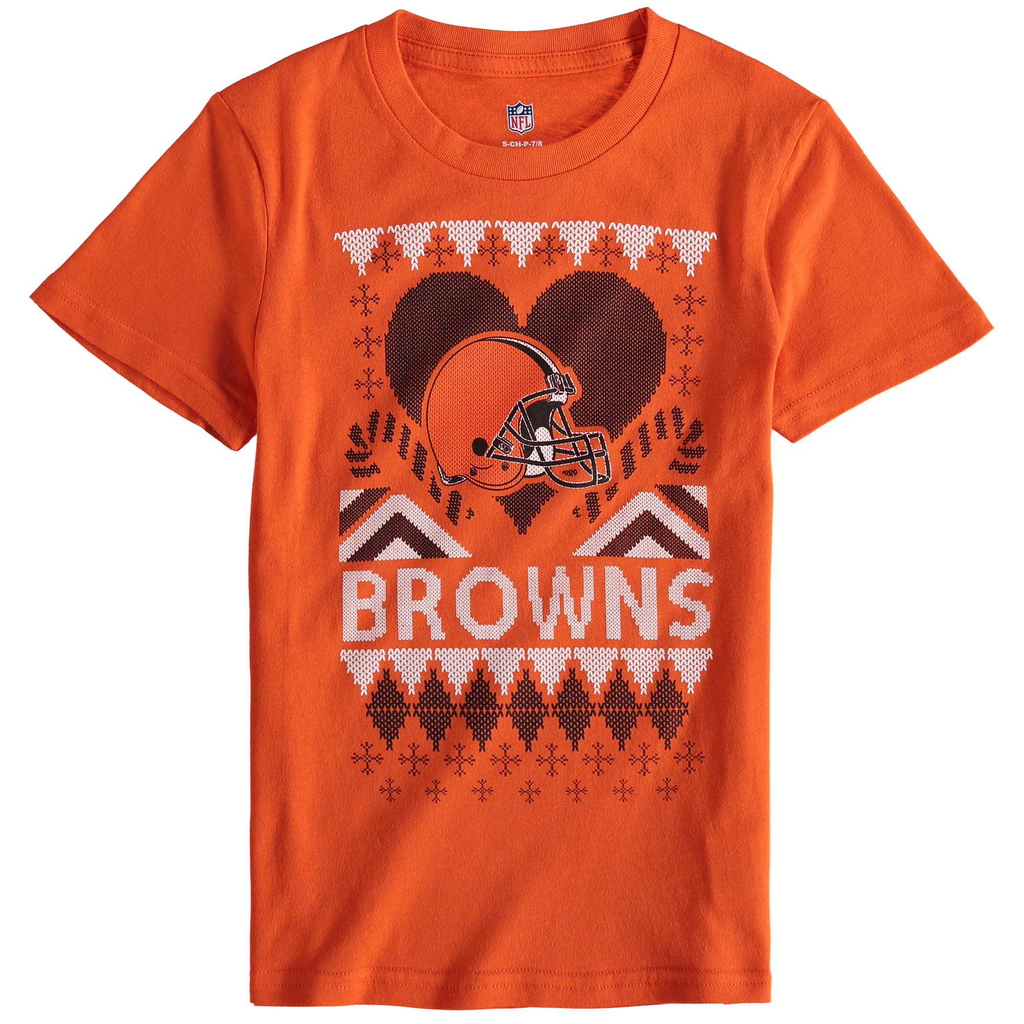 Cleveland Browns Girl's Youth Candy Cane Love T-Shirt - Orange