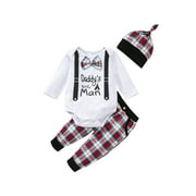 Baby Clothes Boys 3-Piece Clothing Set Baby Clothes Print Romper Bow Tie Checkered Pants Hat Long Sleeve Round Neck Newborn Baby Gift Babysuit Deluxe Autumn