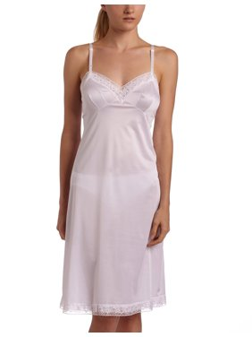 Vanity Fair Women`s Plus Size Rosette Lace Full Slip, 44-24 Length, STAR WHITE