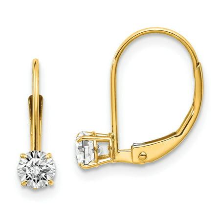 14k Zircon Earrings - Roy Rose Jewelry 14K White Zircon Earrings - April