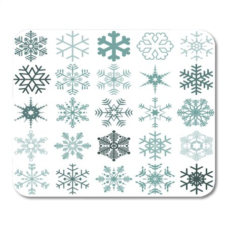 KDAGR Blue Clipart Collection of Different Detailed Snow Flakes for Christmas Time Pictogram Mousepad Mouse Pad Mouse Mat 9x10 inch ()