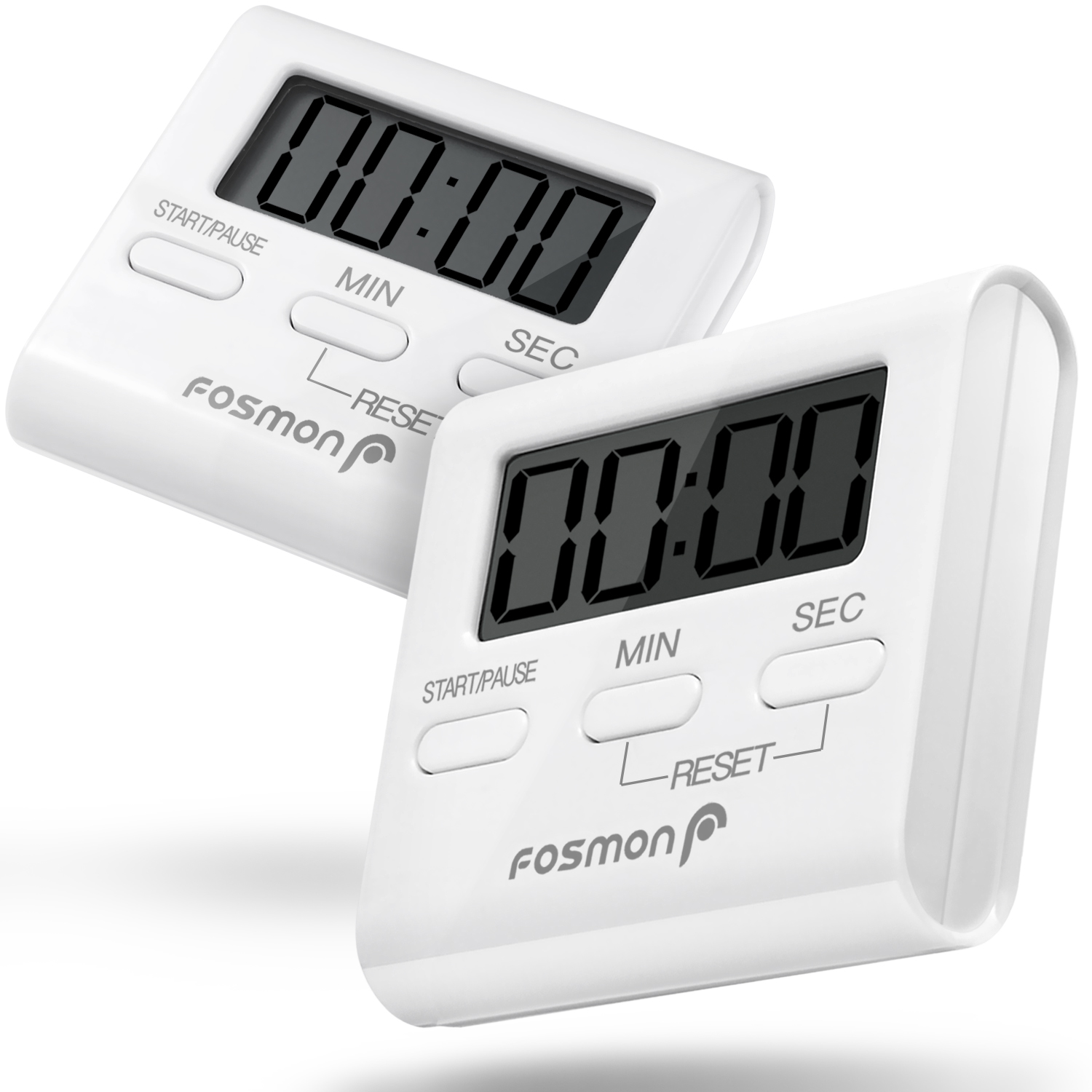 Digital Kitchen Timer (2 Pack), Fosmon Digital Display Kitchen Timer Cooking Baking Count Down Up Clock - Big Digits, Loud Alarm, Magnetic Backing, Foldable Stand, Hanging Loop