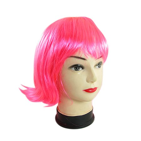 Hairstyle For Halloween (Full Fringe Short Bob Hairstyle Cosplay Hot Pink)
