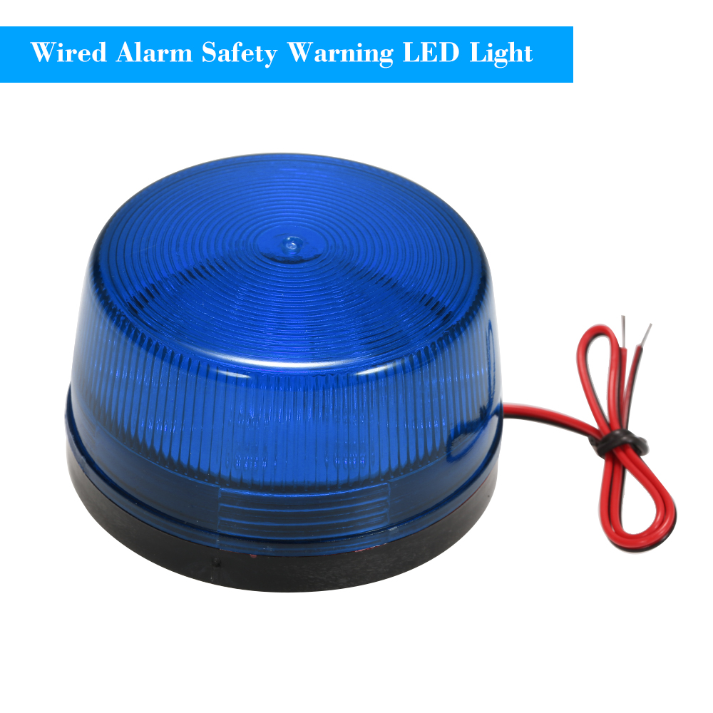 Wired Alarm Strobe Signal Safety Warning LED Light Flashing Waterproof 12V 120mA Safely Security for Alarm System, Blue