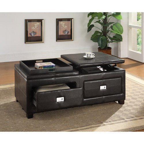 Coffee Table Leather Drawers: Summit Coffee Table With Lift Top, Black