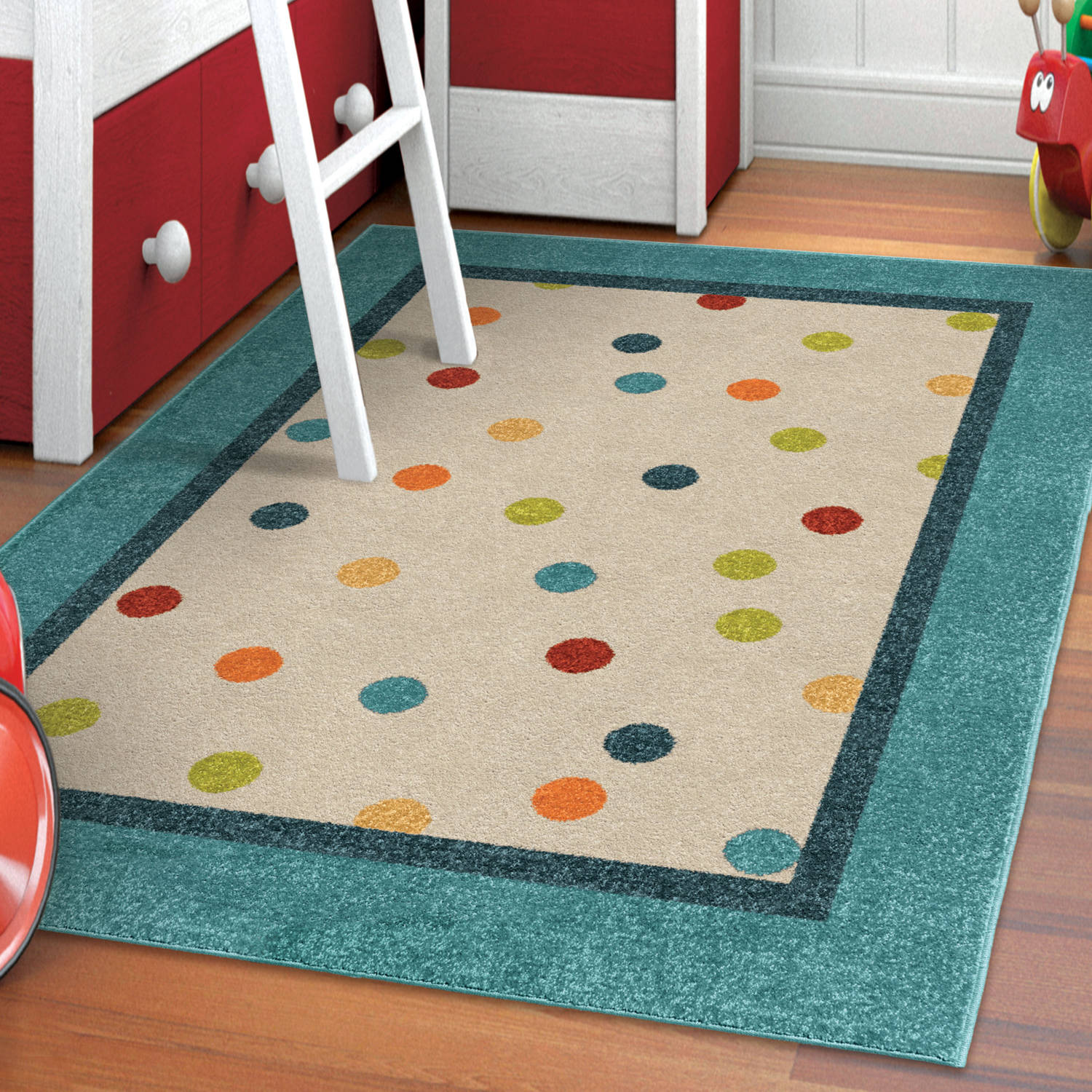 Orian Rugs Kids Polka Dots Rainbow Rain Multi Area Rug
