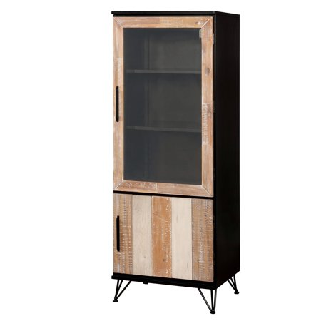 Furniture of America  Freddie Contemporary Sawblade Style 2-Door Pier Cabinet Espresso