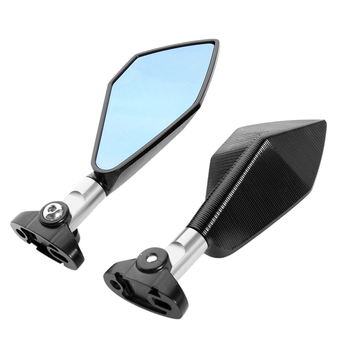 Motorcycle Sliver Tone Pentagon Shape Rotatable Side Rear View Mirror 2 Pcs