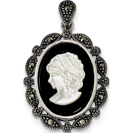 Leslies Fine Jewelry Designer 925 Sterling Silver Antiqued Marcasite Black Agate & MOP White Cameo (21.8x35.3mm) Pendant Gift Heavens Gift Agate