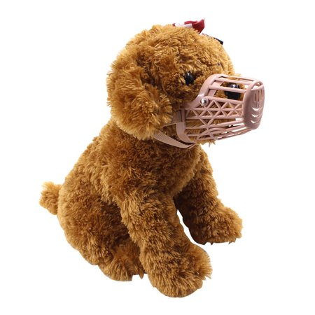 Basket Dog Muzzle Adjustable Leather Strap Pet Dog Grooming No Bark Bite Soft Plastic Dog Mouth Cover - image 6 de 7