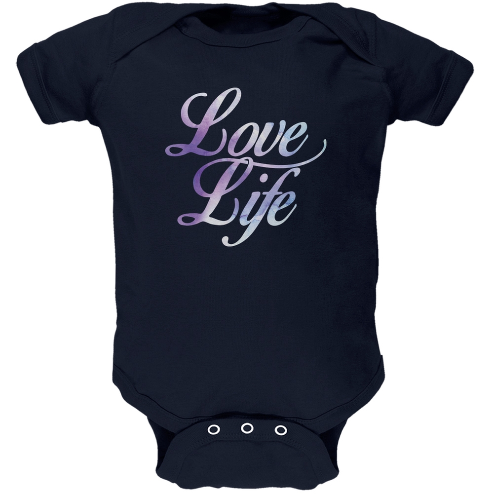 Love Life Watercolor Navy Soft Baby One Piece