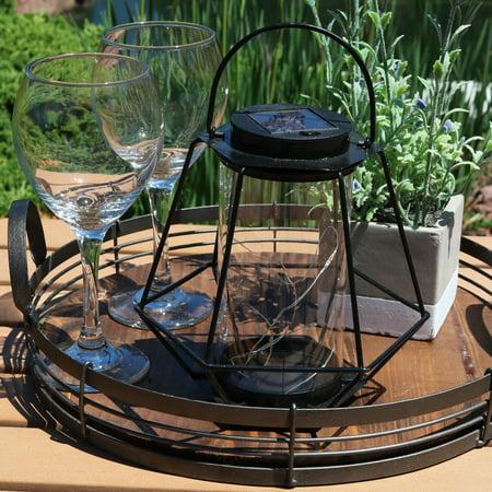 Sunnydaze Outdoor Solar Lantern, Hanging LED Garden Caged String Lights, Decorative Diamond Design, Warm White