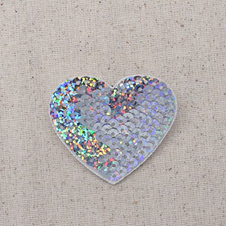 SILVER - Valentine Sequin Heart - Medium - 1.75