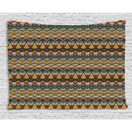 Half Circle Wall (African Tapestry, Complex Pattern of Triangles Half Circles and Zigzag Lines with Retro Grunge Look, Wall Hanging for Bedroom Living Room Dorm Decor, 60W X 40L Inches, Multicolor, by Ambesonne )