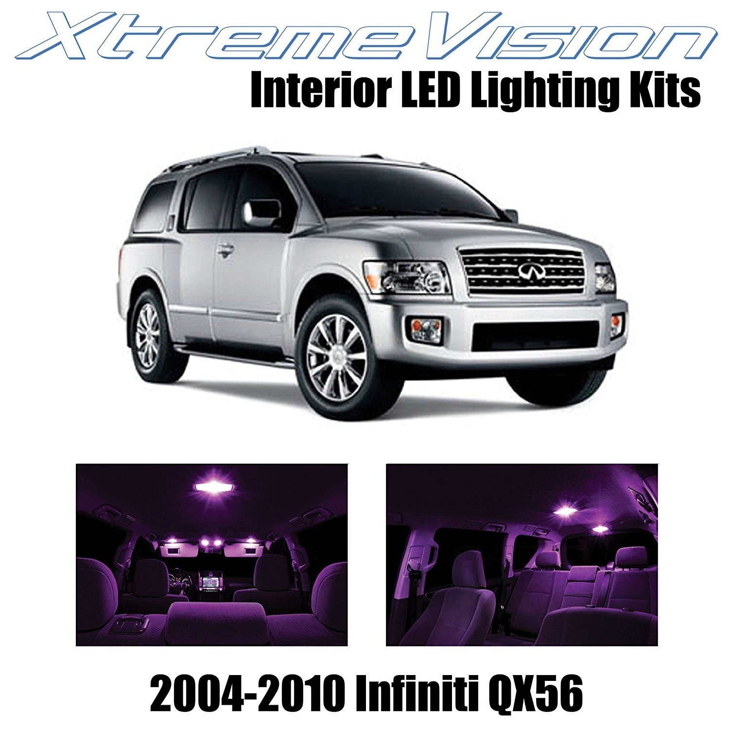 XtremeVision LED for Infiniti QX56 2004-2010 (13 Pieces) Pure White Premium Interior LED Kit Package + Installation Tool