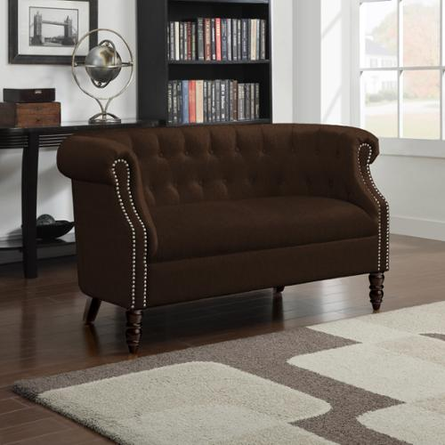 Portfolio Chesterfield Brown Velvet Loveseat
