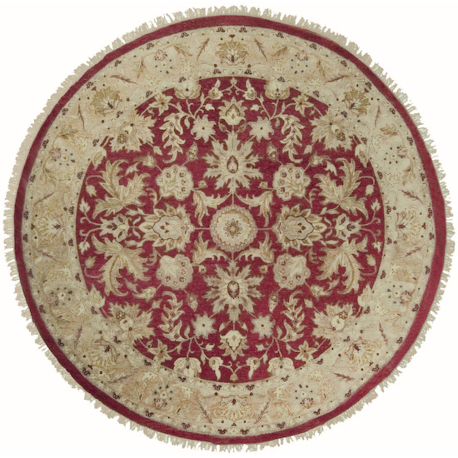 8' Yichang Brick Red, Pecan and Ivory Wool Round Area Throw Rug