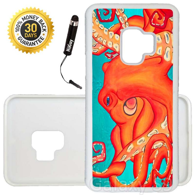 Custom Galaxy S9 Case (Deep Water Octopus Turquoise Orange) Edge-to-Edge Rubber White Cover Ultra Slim | Lightweight | Includes Stylus Pen by Innosub