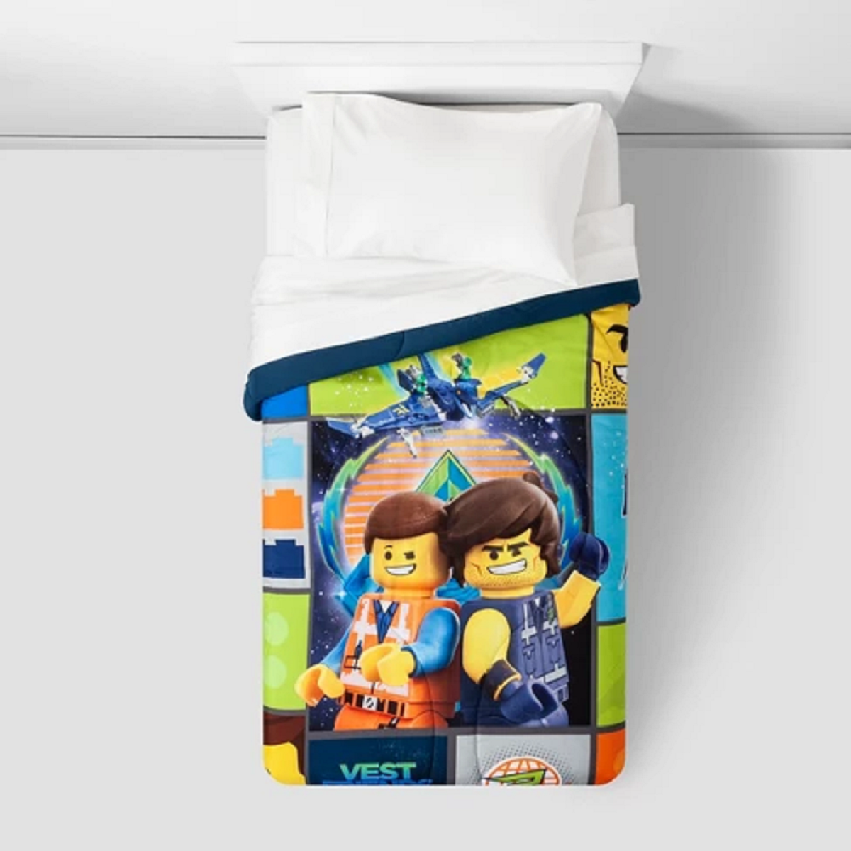 Lego Movie 2 Galactic Duo Twin Comforter and 3 Piece Twin Set with Pillow