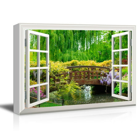 Japanese Canvas Art - wall26 3D Visual Effect View Through Window Frame Canvas Wall Art - Japanese Style Bridge in a Beautiful Garden - Giclee Print Gallery Wrap Modern Home Decor Ready to Hang - 32x48 inches
