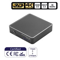 Insten Aluminum 4K HDMI Splitter 4k@60HZ 1 in 2 Out HDMI 2.0 Supports 18 Gbps HDCP 2.2 UltraHD 3D for PS4 Xbox Blu-Ray Player Laptop Computer HDTV Smart TV Monitor Projector (1 Source onto 2 Display)