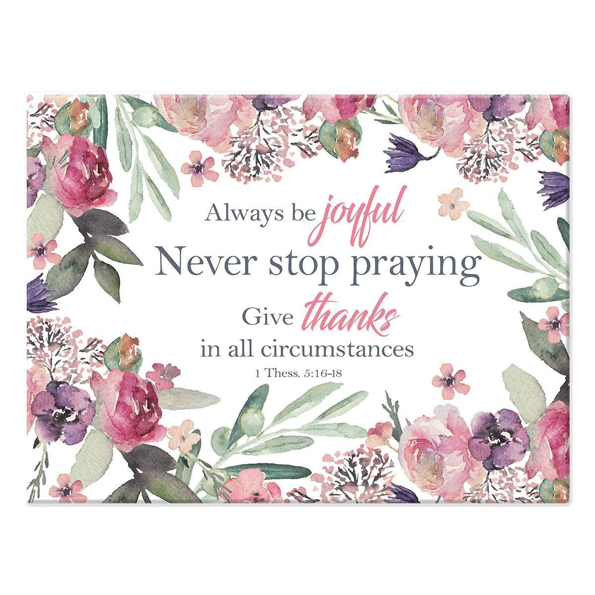 Christian Art Gifts Cutting Board Glass Large Always Be Joyful (Other)