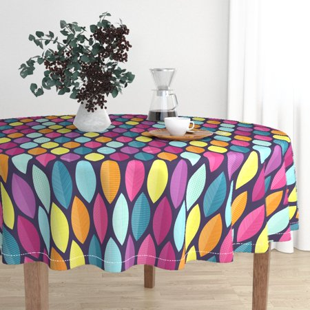 Round Tablecloth Surfboards Palm Leaves Beach Tropical Bright Cotton Sateen ()
