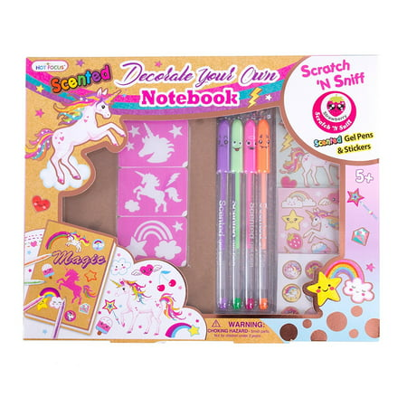 Hot Focus DIY Unicorn Notebook Kit - Decorate Your Own Journal Diary - Scented Pens, Stickers and More (HFC-260UC)](Scented Pens)