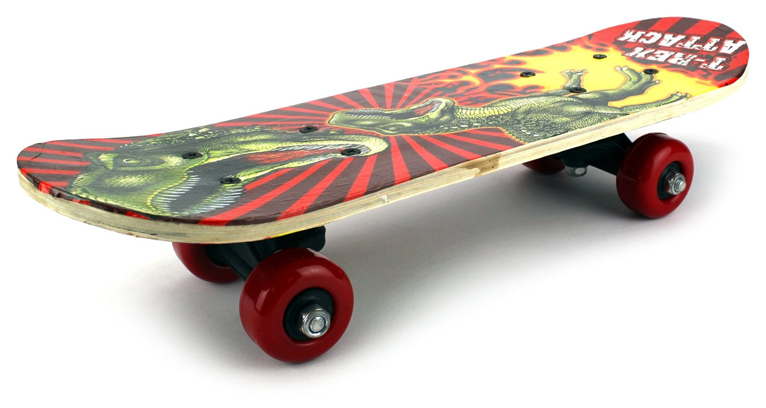 "Mini Xtreme Cruiser Complete 17"" Wooden Skateboard w  48mm Wheels (Patterns May Vary) by Velocity Toys"