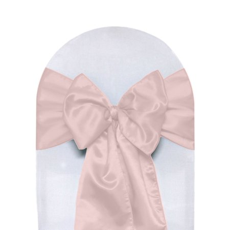 Your Chair Covers - Satin Sashes Blush (Pack of 10) for Wedding, Party, Birthday, Patio, etc. (Teal And Peach Wedding)
