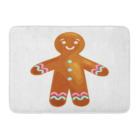 Sweet Gingerbread Man - GODPOK Christmas Cookies Smiling Decorated with Icing Dancing and Having Fun Happy Xmas Gingerbread Man Sweet Rug Doormat Bath Mat 23.6x15.7 inch