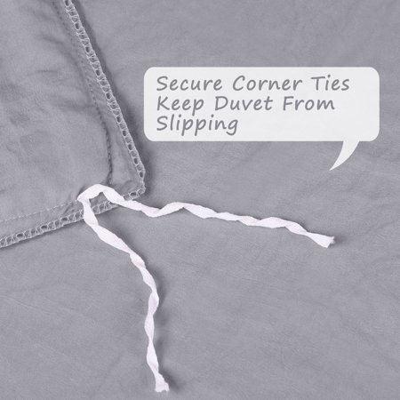 Pompons Duvet Cover and Sham Set King Size Bedding Soft Washed Cotton, Gray - image 3 de 8