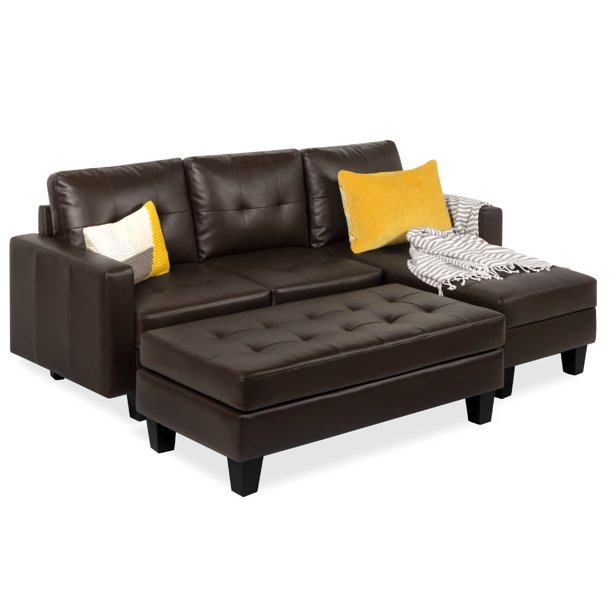 Best Choice Products 3-Seat L-Shape Tufted Faux Leather Sectional Sofa Couch Set w/ Chaise Lounge, Ottoman Bench - Brown