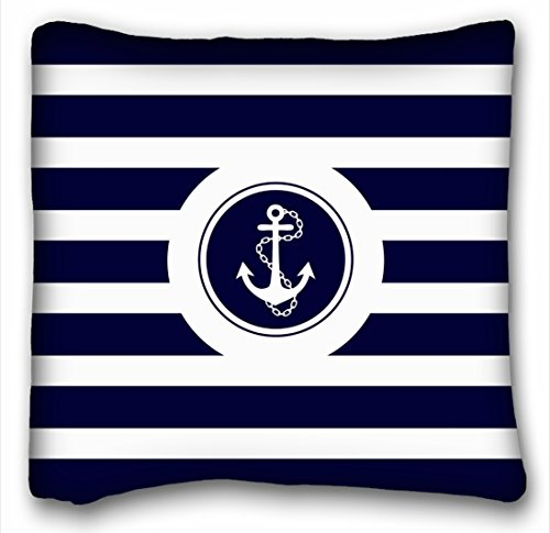 Winhome Navy Blue White Stripes Nautical Anchor Throw