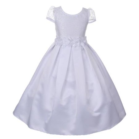 Big Girls White Lace Satin Roses Embellished T-Length Communion Dress 6 (White Girl Dresses)