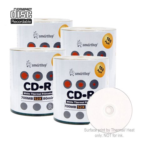 400 pack smartbuy 52x cd r 700mb 80min white thermal hub printable data blank. Black Bedroom Furniture Sets. Home Design Ideas