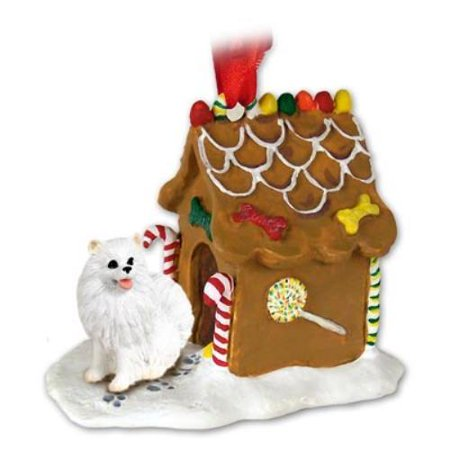 American Eskimo Miniature Ginger Bread House Ornament