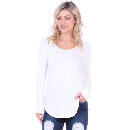 92659f38 Womens Boyfriend T-Shirt Long Sleeve Top, Pearl - Made in USA - Walmart.com
