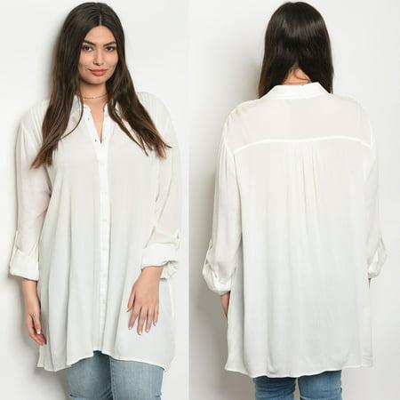 3c12d8cdc JED FASHION - JED FASHION Women's Plus Size Flowy Button Down Tunic Shirt -  Walmart.com