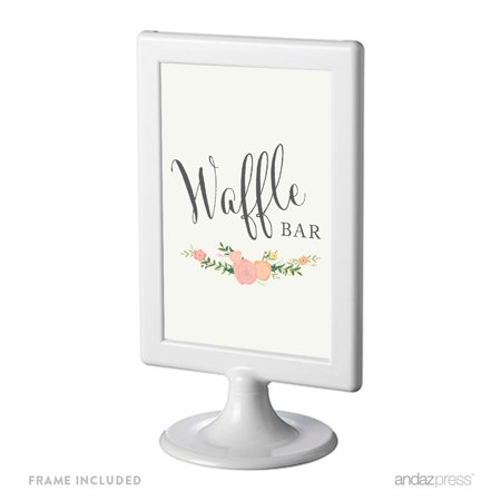 Waffle Bar Framed Floral Roses Wedding Party Signs (Wedding Bar Signs)