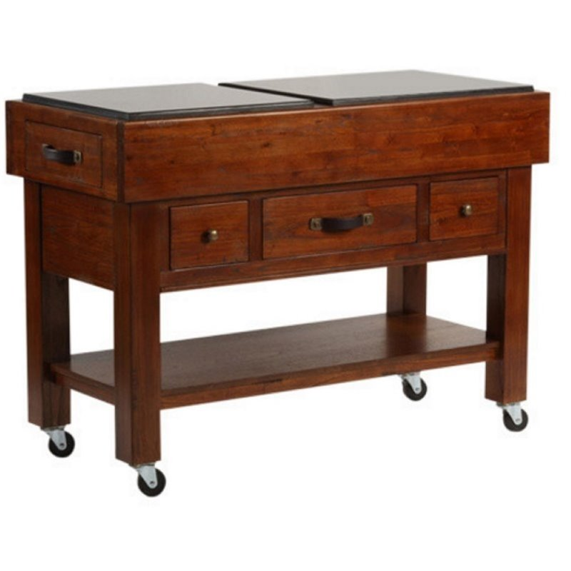 Bowery Hill Kitchen Cart in Distressed Chestnut