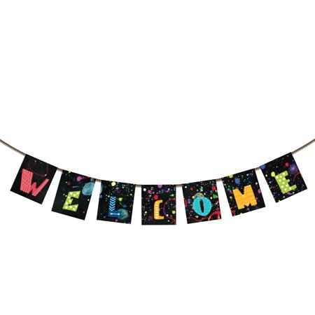 YKCG Welcome Banner Bunting for Family Decoration Home Party Photo Props, Spray color doodle Background Banner Garland Flag