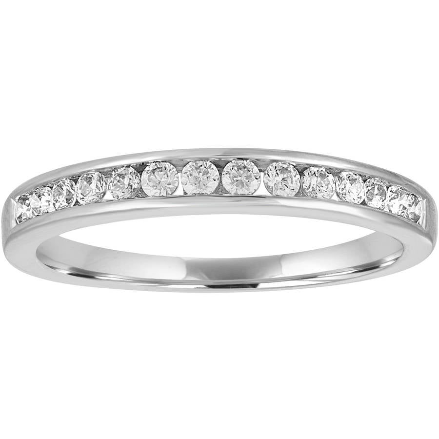Forever Bride 1 4 Carat T.W. Diamond 10kt White Gold Channel Wedding Band by Generic