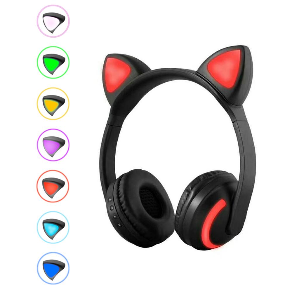 Zw 19 Wireless Bluetooth Headset Glowing Cat Ear Earphones Stereo Music Headphones Hands Free W Mic Colorful Light Adjustable Headband For Desktop Laptop Tablet Pc Smartphone Walmart Com Walmart Com