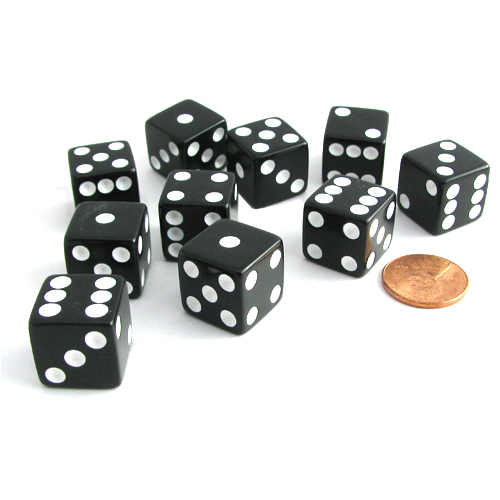 Koplow Games Set of 10 Six Sided Square Opaque 16mm D6 Dice - Black with White Pip Die #01978