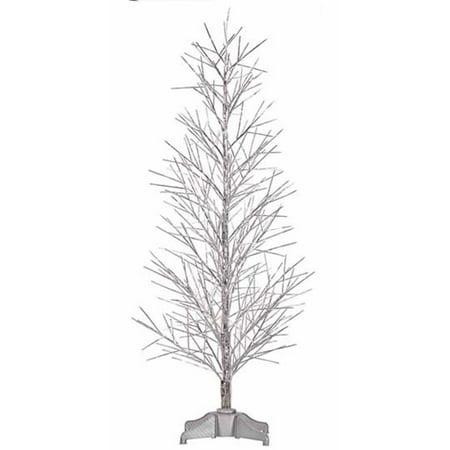 4' Pre-Lit Battery Operated Silver Fiber Optic Christmas Twig Tree - Multi