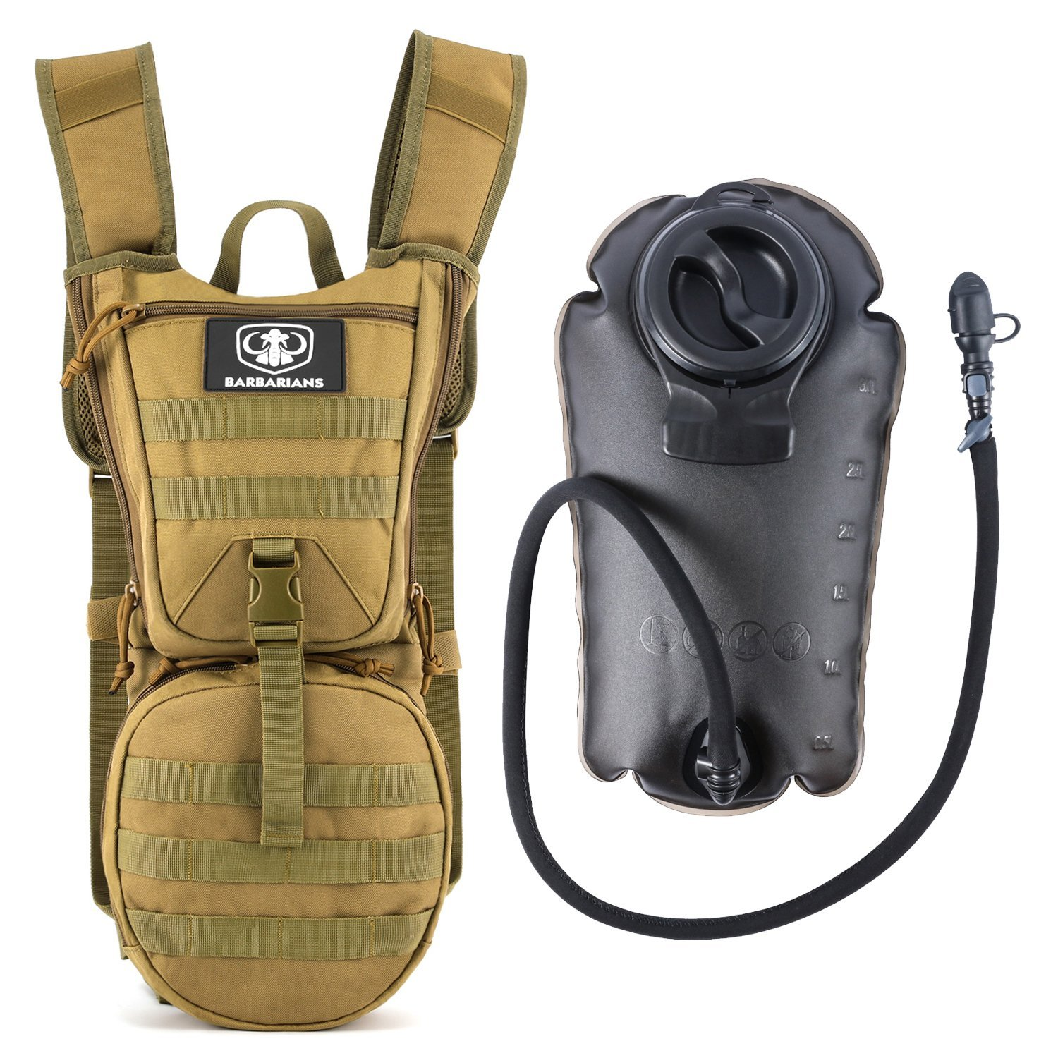 Tactical Hydration Pack Water Backpack with 3L Bladder, Barbarians Lightweight Military Molle Backpack (Green) by