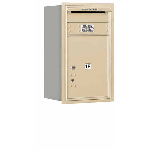 "Salsbury Industries 4C Horizontal Mailbox 7-Door High Unit (27""), Single Column, Stand-Alone Parcel Locker-1 PL5 with Outgoing Mail Compartment, Aluminum, Rear Load, Private Access"