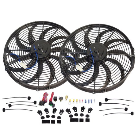 Dual 16 Quot Electric S Blade Heavy Duty Cooling Radiator Fan