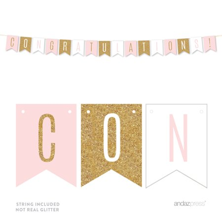 Signature Blush Pink, White, Gold Glittering Party Collection, Hanging Pennant Banner, Congratulations! - Penant Banner
